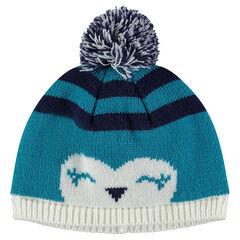 Bonnet en tricot motif animal avec pompon