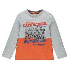 Tee-shirt manches longues avec inscriptions et chats printés