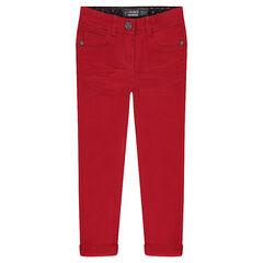 Junior - Pantalon en twill uni coupe slim