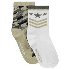 Lot de 2 paires de chaussettes style army