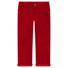 Pantalon slim en velours doublé jersey
