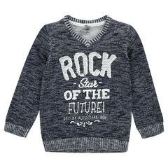 Pull en tricot slub à message printé
