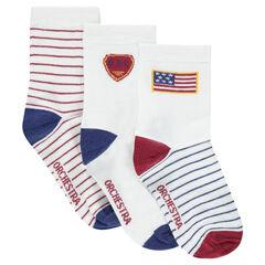 Lot de 3 paires de chaussettes assorties avec motifs et rayures