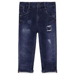 Jeans en molleton efet used avec usures fantaisie