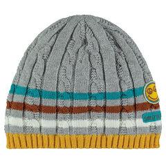 Bonnet en tricot avec rayures jacquard ©Smiley