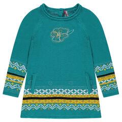 Robe manches longues en tricot motifs jacquard