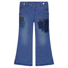 Jeans flare avec patchs fantaisie