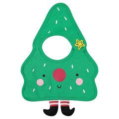 Bavoir en jersey forme sapin de Noel