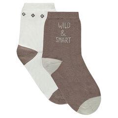 Lot de 2 paires de chaussettes assorties avec motif jacquard