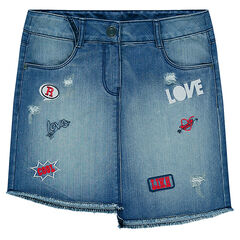 Junior - Jupe en jeans asymétrique à badges