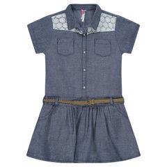 Robe effet jeans avec détail dentelle et ceinture amovible