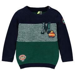 Pull en tricot avec sandwichs patchés et lettre en bouclette