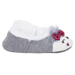 Chaussons forme babies en tricot et fausse fourrure