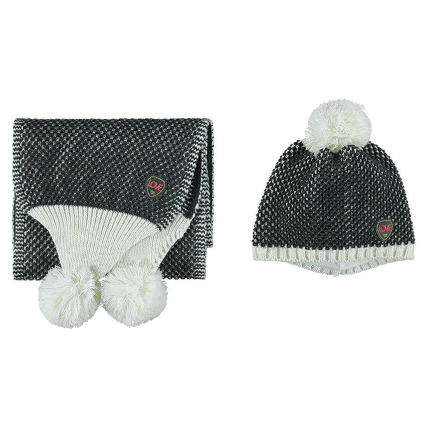 Ensemble bonnet et écharpe en tricot fantaisie
