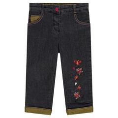 Jeans doublé micropolaire avec fleurs brodées