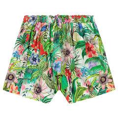 Junior - Jupe-culotte en voile imprimé tropical
