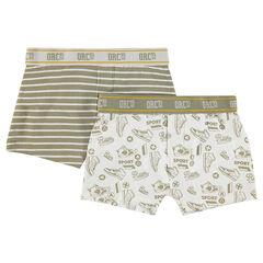 Junior - Lot de 2 boxers en coton à motif/rayé
