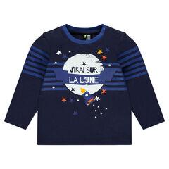 Tee-shirt manches longues avec fusée et étoiles printées
