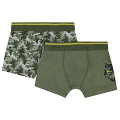 Lot de 2 boxers en coton assortis print loup/army