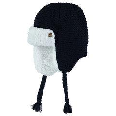 Bonnet péruvien en tricot avec doublure sherpa et tresses