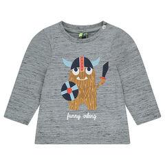 Tee-shirt manches longues en jersey slub avec viking printé