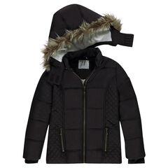 Junior - Doudoune matelassée à capuche amovible et doublure sherpa