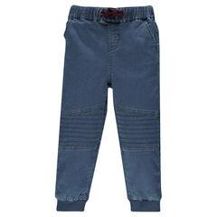 Pantalon de jogging effet jeans à jeux de surpiqûres genoux
