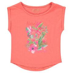 Junior - Tee-shirt manches courtes en jersey slub et print fantaisie