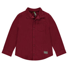 Chemise manches longues bordeaux avec poche
