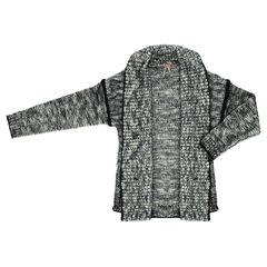 Junior - Gilet long en tricot avec jeu de mailles
