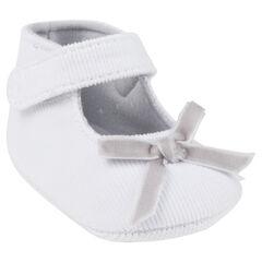 Babies blanches effet velours avec scratch et noeud