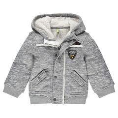 Veste à capuche en molleton doublée sherpa avec badges patchés