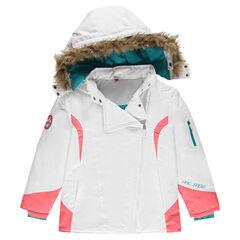 Junior -  Blouson de ski doublé micropolaire à capuche amovible