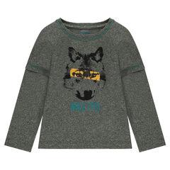 Tee-shirt manches longues effet 2 en 1 avec loup printé