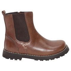 1/2 bottes en cuir à élastique et zip