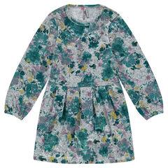 Robe en maille fantaisie imprimée fleurs