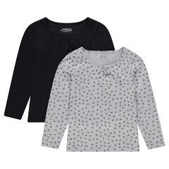 Lot de 2 tee-shirts manches longues uni/imprimé
