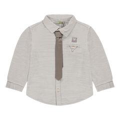 Chemise manches longues en coton fantaisie avec cravate
