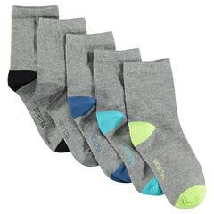 Lot de 5 paires de chaussettes unies à bout et talon contrastés
