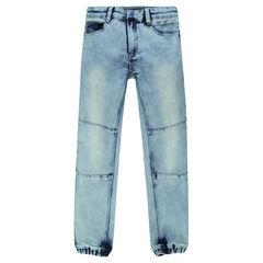 Jeans effet neige avec chevilles élastiquées