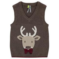 Pull sans manches en tricot avec motif jacquard