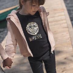 Tee-shirt manches longues en jersey slub avec ©Smiley en sequins magiques