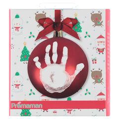 Kit boule de Noël avec matériel pour empreinte main