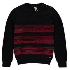 Junior - Pull en tricot à rayures et maille fantaisie