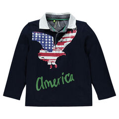 Polo manches longues avec print aigle motif drapeau USA