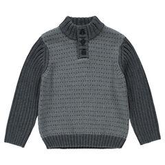 Pull en tricot fantaisie avec col boutonné
