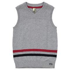 Pull en tricot sans manches avec rayures contrastées