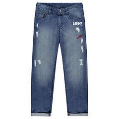 Junior - Jeans boyfriend avec badges et déchirures fantaisie