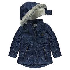 Doudoune imprimée étoiles à capuche amovible, doublée sherpa
