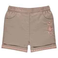 Short en coton fantaisie avec broderies incas